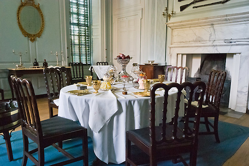 1700s Style Place Settings And Furniture Gather Around A Dining Table At  The Governoru0027s Palace On