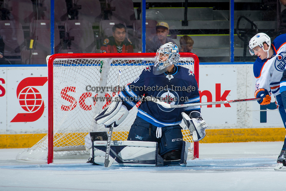 PENTICTON, CANADA - SEPTEMBER 9: Jamie Phillips #50 of Winnipeg Jets defends the net against the Edmonton Oilers on September 9, 2017 at the South Okanagan Event Centre in Penticton, British Columbia, Canada.  (Photo by Marissa Baecker/Shoot the Breeze)  *** Local Caption ***