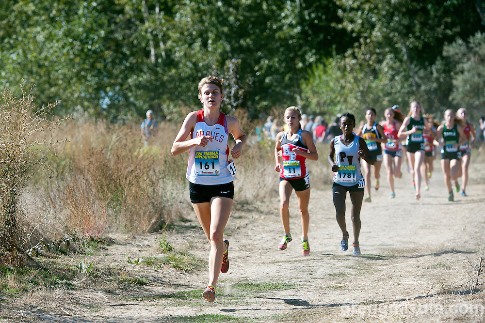 Boise senior Audrey Rustad on Poplar Lane during the first loop of the Bob Firman Invitational Elite race. September 26, 2015, Eagle Island State Park, Boise, Idaho. Rusted finished eighteenth with a time of 18:55.13.