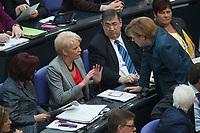 18 APR 2013, BERLIN/GERMANY:<br /> Rita Pawelski (2.v.L.), MdB, CDU, Vorsitzender der Gruppe der Frauen der CDU/CSU-Bundestagsfraktion, und Angela Merkel (R), CDU, Budeskanzlerin, im Gespraech, waehrend der Debatte zur Einfuerhung von verbindlichen Frauen-Quoten fuer Aufsichtsraete, die Foerderung der Chancengleichheit von Maennern und Frauen, Plenum, Deutscher Bundestag<br /> IMAGE: 20130418-01-074<br /> KEYWORDS: Sitzung, Gespräch