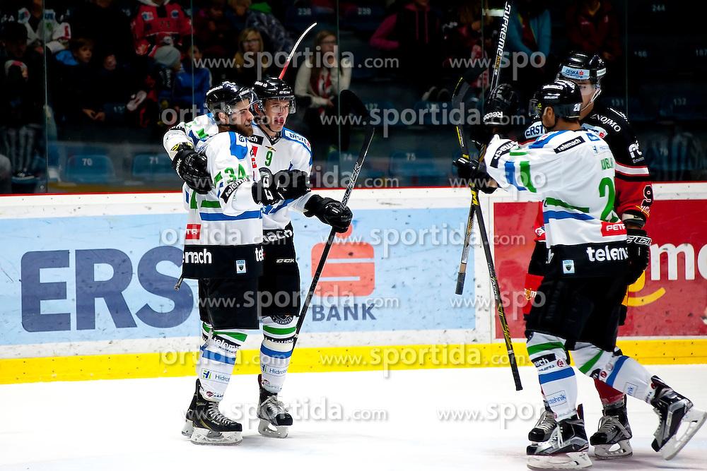04.10.2015, Ice Rink, Znojmo, CZE, EBEL, HC Orli Znojmo vs HDD TELEMACH Olimpija Ljubljana, 8. Runde, im Bild v.l. Stefan Chaput (HDD TELEMACH Olimpija Ljubljana) Nik Pem (HDD TELEMACH Olimpija Ljubljana) Gregor Koblar (HDD TELEMACH Olimpija Ljubljana) // during the Erste Bank Icehockey League 8th round match between HC Orli Znojmo and Moser Medical Graz 99ers at the Ice Rink in Znojmo, Czech Republic on 2015/10/04. EXPA Pictures © 2015, PhotoCredit: EXPA/ Rostislav Pfeffer