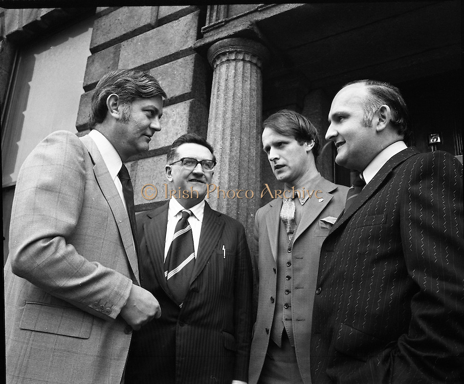 West Cork Tourism Press Conference.  (J34)..1975..16.04.1975..04.16.1974.16th April 1975..West Cork,one of the most attractive tourist areas in the country,is offering up to 50% reductions in hotel rates for May and June and from September to October this year,the Chairmanof West Cork Tourism,Mr Gerard McCarthy announced today...Pictured at the West Cork Press announcement in dublin were (L-R) Mr Charles Cullinane, Mr Gerard McCarthy, Chairman,West Cork Tourism, Mr Michael Manning, Tourism Officer,West Cork / Ivernia and Mr Barra O'Tuama. all are members of the West Cork Tourism Association Council..The announcement took place at 3 Fitzwilliam Place, Dublin.
