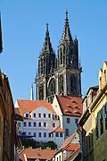 Altstadt, Albrechtsburg, Meißen, Sachsen, Deutschland. .Albrechtsburg , old town of Meissen, Saxony, Germany.