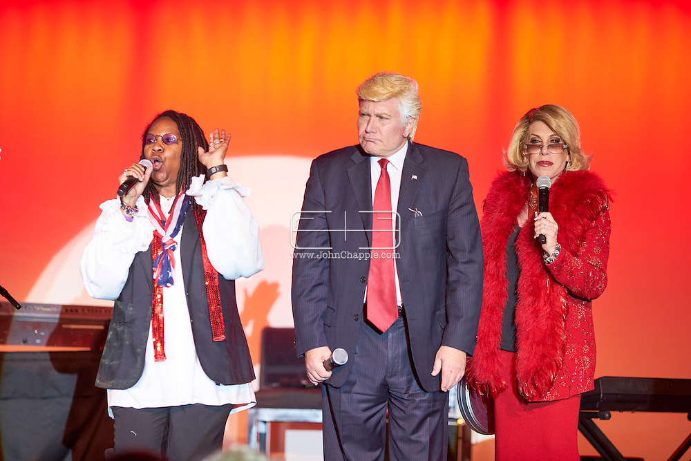 February 22, 2016. Las Vegas, Nevada.  The 22nd Reel Awards and Tribute Artist Convention in Las Vegas. Celebrity lookalikes from all over the world gathered at the Golden Nugget Hotel for the annual event. Pictured is Joan Rivers lookalike, Dee Dee Hanson, Trump Lookalike, Marcel Forestieri and Whoopi Goldberg lookalike, Bettina Williams.<br /> Copyright John Chapple / www.JohnChapple.com /