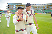 Dom Bess and Craig Overton of Somerset on the parade around the County Ground after his teams win over Nottinghamshire the Specsavers County Champ Div 1 match between Somerset County Cricket Club and Nottinghamshire County Cricket Club at the Cooper Associates County Ground, Taunton, United Kingdom on 22 September 2016. Photo by Graham Hunt.