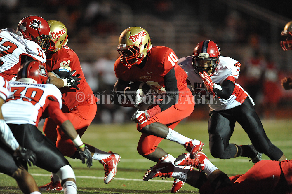 Lafayette High's Tavon Joiner (10) vs. Shannon's Broderick Clemmons (36) in Oxford, Miss. on Friday, September 19, 2014. Lafayette High won 35-0 to improve to 2-3 on the season.