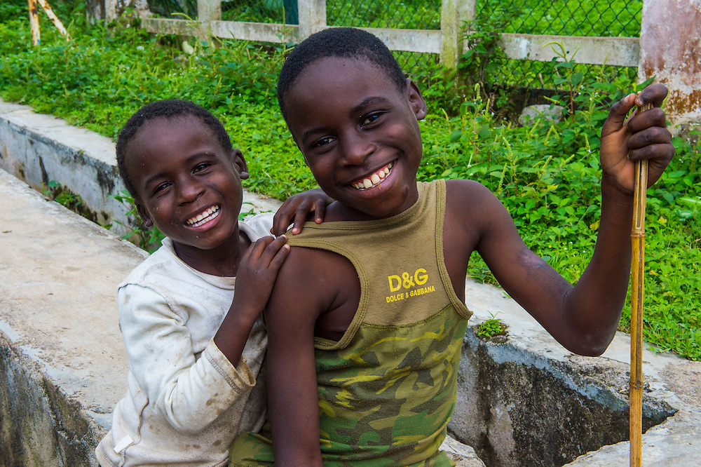 Curious young boys, Plantation Roca Monte Cafe, Sao Tome, Sao Tome and Principe, Atlantic ocean
