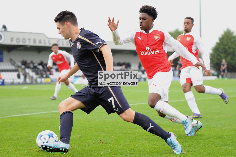 Arsenals Aaron Eyoma and Dinamo Zagrebs Josip Brekalo in action during the Arsenal u19 v Dinamo Zagreb u19 clash on Tuesday 24th November 2015 in the UEFA Youth League at Borehamwood