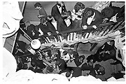 Overhead view of the staircase.  Valentine Ball. Oxford Union. 16 Feb 1984. SUPPLIED FOR ONE-TIME USE ONLY> DO NOT ARCHIVE. © Copyright Photograph by Dafydd Jones 248 Clapham Rd.  London SW90PZ Tel 020 7820 0771 www.dafjones.com