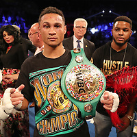 NEW ORLEANS, LA - JULY 14:  Regis Prograis celebrates after defeating Juan Jose Velasco during their WBC Diamond Super Lightweight Title boxing match at the UNO Lakefront Arena on July 14, 2018 in New Orleans, Louisiana.  (Photo by Alex Menendez/Getty Images) *** Local Caption *** Regis Prograis; Juan Jose Velasco