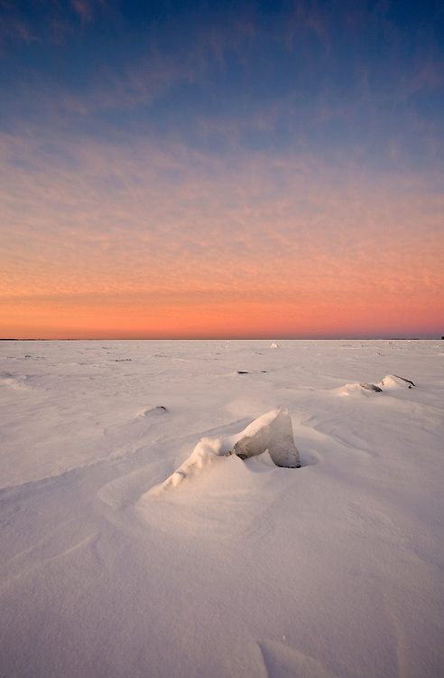 Colorful winter dawn on Lake Ontario Canada