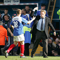 Photo: Lee Earle.<br /> Portsmouth v Sunderland. The Barclays Premiership. 22/04/2006. Portsmouth manager Harry Redknapp celebrates with Sean Davis at the end of the match.