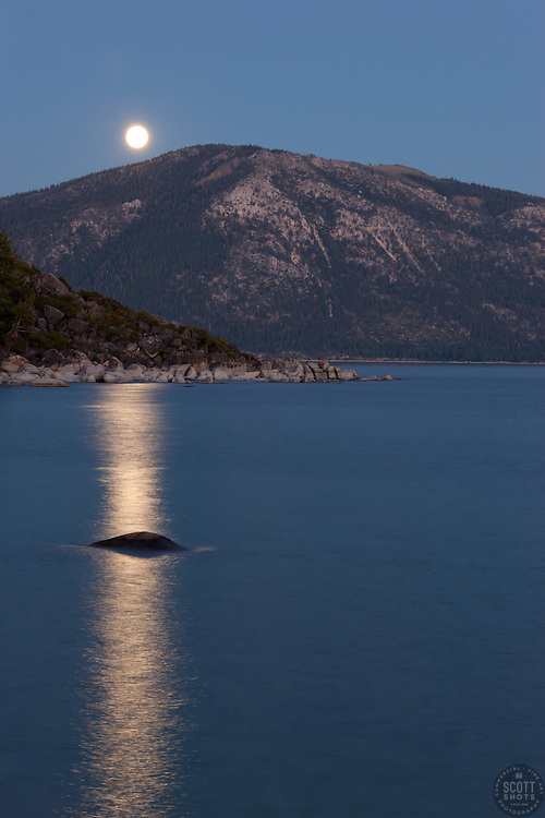 """Full Moon over Lake Tahoe 6"" - This rising full moon was photographed from Speed Boat Beach, Lake Tahoe."
