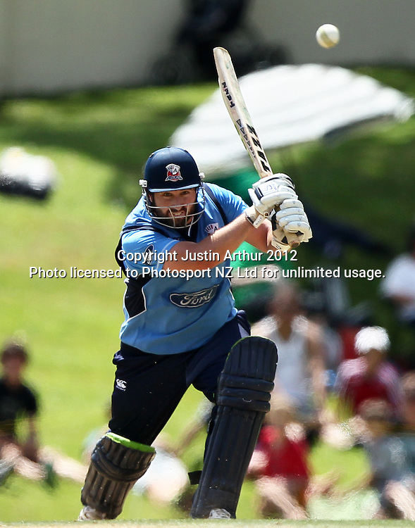 Neal Parlane plays his centaury shot. Ford Trophy Final - Men's domestic one day cricket, Central Stags v Auckland Aces, Pukekura Park, New Plymouth, New Zealand on Sunday 12 February 2012. Photo: Justin Arthur / Photosport.co.nz