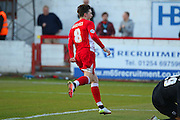 Josh Windass of Accrington Stanley FC celebrates putting Accrington 1-0 up from the penalty spot during the Sky Bet League 2 play-off second leg match between Accrington Stanley and AFC Wimbledon at the Fraser Eagle Stadium, Accrington, England on 18 May 2016. Photo by Pete Burns.