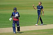 Gareth Berg of Hampshire celebrates the wicket of Rob Jones during the Royal London One Day Cup semi-final match between Hampshire County Cricket Club and Lancashire County Cricket Club at the Ageas Bowl, Southampton, United Kingdom on 12 May 2019.