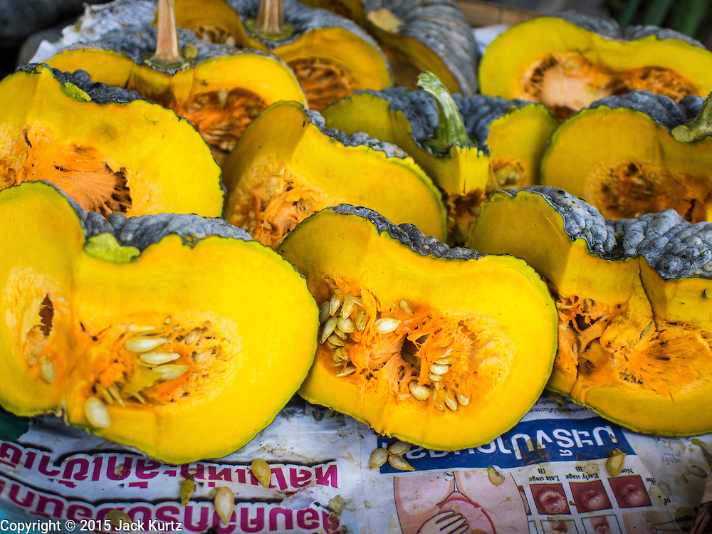 03 APRIL 2015 - CHIANG MAI, CHIANG MAI, THAILAND:  Thai pumpkins for sale in the market in Chiang Mai.      PHOTO BY JACK KURTZ