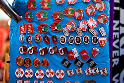 LIVERPOOL, ENGLAND - Saturday, December 29, 2018: Liverpool pin badges on sale before the FA Premier League match between Liverpool FC and Arsenal FC at Anfield. (Pic by David Rawcliffe/Propaganda)
