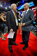 Republican strategist and political consultant Karl Rove talks with Senator Orrin Grant Hatch (Utah) at the GOP National Convention in Tampa Bay Forum.