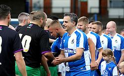 Wael Al-Qadi president of Bristol Rovers FC shakes hands ahead ahead of the Bristol Fan Derby - Mandatory by-line: Robbie Stephenson/JMP - 04/09/2016 - FOOTBALL - Memorial Stadium - Bristol, England - Bristol Rovers Fans v Bristol City Fans - Bristol Fan Derby