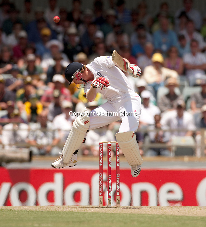 Paul Collingwood avoids a Mitchell Johnson bouncer during the third Ashes test match between Australia and England at the WACA (West Australian Cricket Association) ground in Perth, Australia. Photo: Graham Morris (Tel: +44(0)20 8969 4192 Email: sales@cricketpix.com) 17/12/10