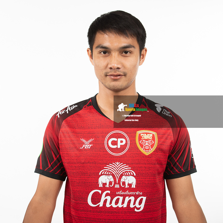 THAILAND - MARCH 05: Nuttapon Sukchai #16 of Police Tero FC on March 05, 2019.<br /> .<br /> .<br /> .<br /> (Photo by: Naratip Golf Srisupab/SEALs Sports Images/MB Media Solutions)