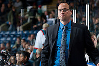 KELOWNA, CANADA - OCTOBER 24: Kris Mallette, assistant coach of the Kelowna Rockets stands on the bench against the Calgary Hitmen on October 24, 2015 at Prospera Place in Kelowna, British Columbia, Canada.  (Photo by Marissa Baecker/Shoot the Breeze)  *** Local Caption *** Kris Mallette;