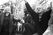 Ravers chanting a long, 3rd Criminal Justice March,  London, 9th of October, 1994