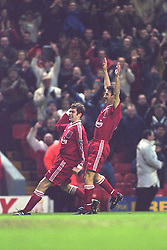 LIVERPOOL, ENGLAND - Saturday, January 6, 1996: Liverpool's Ian Rush celebrates scoring the fifth goal against Rochdale during the FA Cup 3rd Round match at Anfield. Rush set a new cup record by scoring his 42nd FA Cup goal, beating the record held by Dennis Law. (Photo by David Rawcliffe/Propaganda)