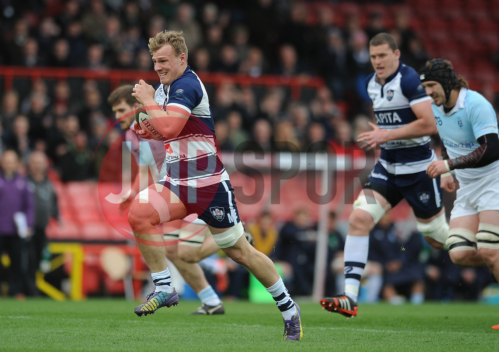 Bristol Rugby Number 8 Mitch Eadie breaks free before scoring a try  - Photo mandatory by-line: Dougie Allward/JMP - Mobile: 07966 386802 - 29/03/2015 - SPORT - Rugby - Bristol - Ashton Gate - Bristol Rugby v Bedford Blues - Greene King IPA Championship