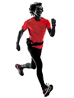 one caucasian man pratcticing runner running jogger jogging in studio silhouette isolated on white background