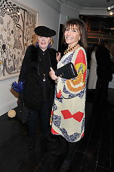 Left to right, AVRIL GIACOBI and BONNIE MORRIS at a private view of art works by Annie Morris entitled 'There is A Land Called Loss' held at Pertwee Anderson & Gold Gallery, 15 Bateman Street, London W1 on 2nd February 2012.