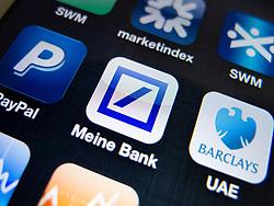 detail of Deutsche Bank banking app on iPhone screen