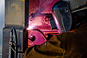 Close up of welder on high steel project