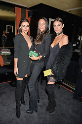 Left to right, AMY JACKSON, LILY FORTESCUE and MISSE BEQIRI at a private dinner for designer Ethan K held at Blakes Hotel, 33 Roland Gardens, London on 26th October 2016.
