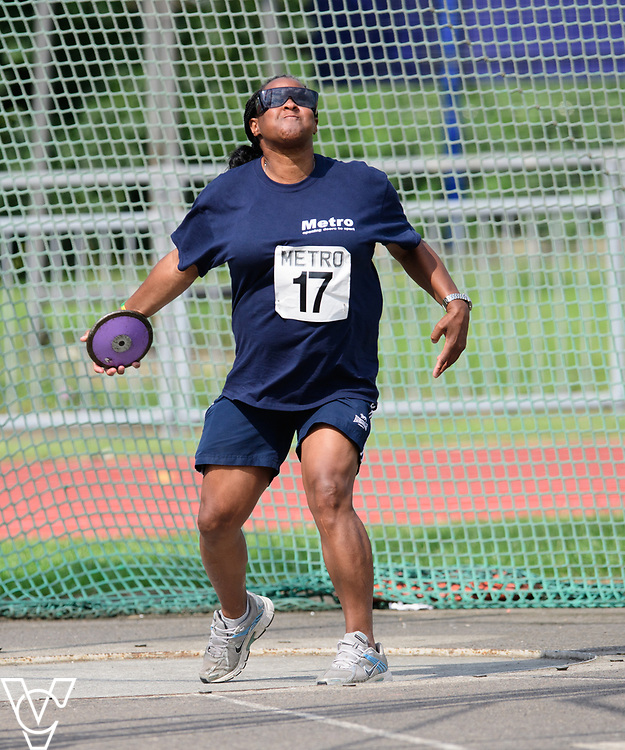 Metro Blind Sport's 2017 Athletics Open held at Mile End Stadium.  Discus.  Camille Elliot-Kamara<br /> <br /> Picture: Chris Vaughan Photography for Metro Blind Sport<br /> Date: June 17, 2017