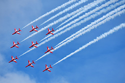 © Licensed to London News Pictures.  04/06/2017; Torbay, Devon, UK. The Red Arrows at the Torbay Airshow 2017. The 2017 Torbay Airshow returns this weekend on Saturday 3 and Sunday 4 June with an action packed programme of world class air displays. The world's premier aerobatic team The Red Arrows will be debuting a new routine in the first display of their season, featuring their trademark combination of close formations and precision flying. The full display programme for the weekend begins on the Saturday between 2-3pm with The Tigers Freefall Parachute Display Team, Team Raven Aerobatic Display Team, the Percival Piston Provost and the Strikemaster. From 3-4pm will be the highly anticipated display by the Red Arrows, former British Female Aerobatic Champion Lauren Richardson in her Pitts Special S1-S and world aerobatic competitor Gerald Cooper in his Xtreme XA41. Finishing off the action packed afternoon from 4-5pm will see displays from the AutoGyro, the Battle of Britain Memorial Flight aircraft, the PBY5A Catalina seaplane, The Blades and the Royal Air Force's Typhoon FGR4. Sunday afternoon will see each of the aircraft take to the skies again before the weekend closes with a final display from the RAF Chinook team. The two day show, which had its inaugural event last year, takes place on Paignton Green with the Bay providing a stunning natural amphitheatre for viewing the air displays and the perfect location for a large coastal airshow event. To stay up to date with the latest Torbay Airshow news and updates follow @torbayairshow on Facebook, Twitter and Instagram or visit www.torbayairshow.com. Picture credit : Simon Chapman/LNP