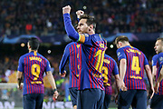GOAL - 1-0 Barcelona forward Lionel Messi (10) celebrates punching the air during the Champions League quarter-final leg 2 of 2 match between Barcelona and Manchester United at Camp Nou, Barcelona, Spain on 16 April 2019.