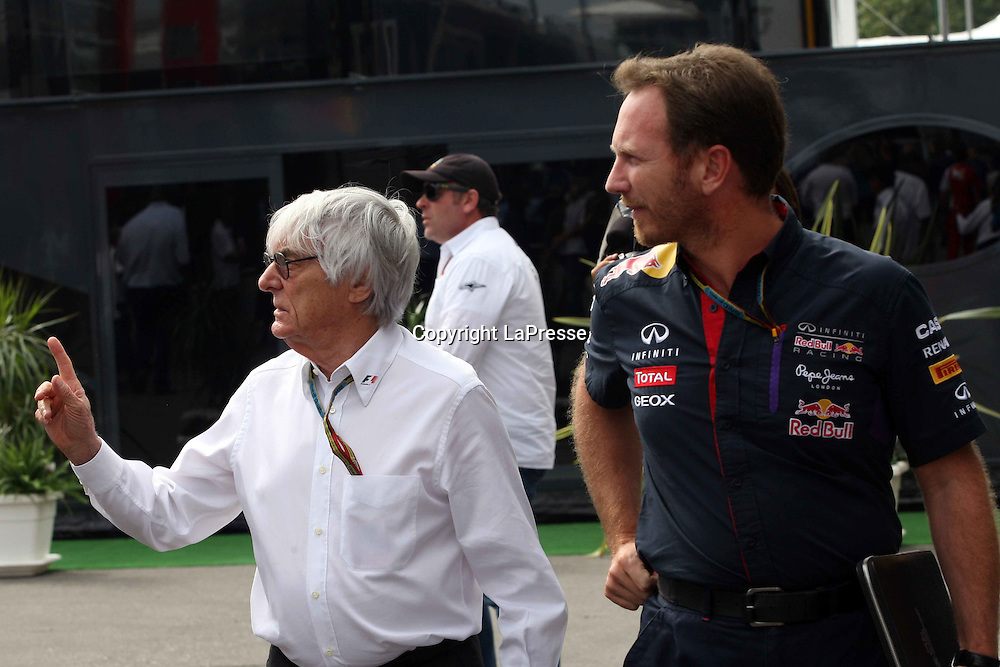 &copy; Photo4 / LaPresse<br /> 05/09/2014 Monza, Italy<br /> Sport <br /> Grand Prix Formula One Italy 2014<br /> In the pic: Bernie Ecclestone (GBR) and Christian Horner (GBR), Red Bull Racing, Sporting Director