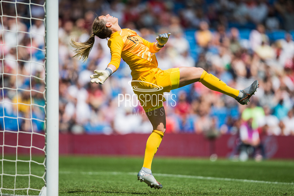 Carly Telford (GK) (England) looking up to the ball during the FIFA Women's World Cup UEFA warm up match between England Women and New Zealand Women at the American Express Community Stadium, Brighton and Hove, England on 1 June 2019.