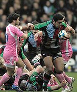 Twickenham, Great Britain, 20/01/2008 Quins Chris HALA'UFIA, breakiing through with the ball during the third round, Heineken Cup Match, Harlequins vs Stade Francais at the Twickenham Stoop, England.  [Mandatory Credit Peter Spurrier/Intersport Images