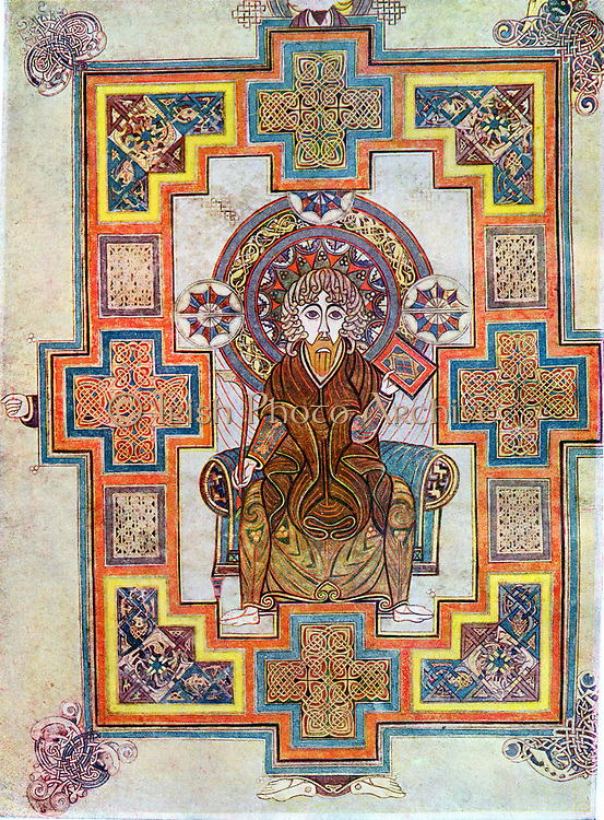 Portrait of Saint John. 'Book of Kells', 6th century manuscript of the Four Gospels