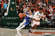 January 15, 2018: Trevan Duval #1 of Duke dribbles upcourt as Chris Lykes #2 of Miami defends during the NCAA basketball game between the Miami Hurricanes and the Duke Blue Devils in Coral Gables, Florida. The Blue Devils defeated the 'Canes 83-75.