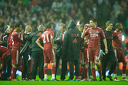 LIVERPOOL, ENGLAND - Wednesday, September 22, 2010: Liverpool's manager Roy Hodgson picks his players for a penalty shoot-out against Northampton Town during the Football League Cup 3rd Round match at Anfield. (Photo by David Rawcliffe/Propaganda)