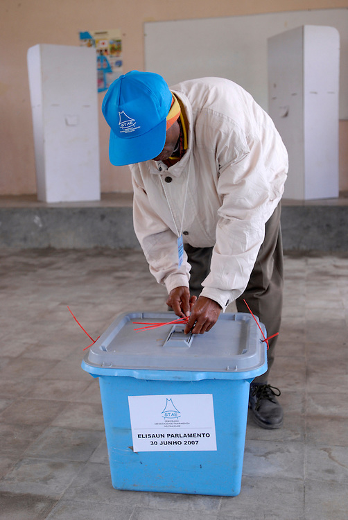 Voting at the prison in the Ermera district village of Fatuquero during Timor-Lestes June 30 Parliamentary elections..