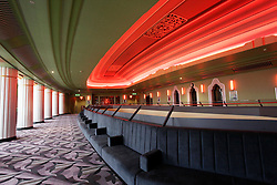 © Licensed to London News Pictures 06/09/2013<br /> Interior of the newly renovated lobby and bar of the 1930s Hammersmith Apollo, now renamed, the Eventin Apollo. <br /> The 1932 Art Deco building was designed by renowned theatre architect Robert Cromieand has been the venue for artists like David Bowie's Ziggy Stardust, Bruce Springsteen, The Rolling Stones, Bob Marley, Ella Fitzgerald and Duke Ellington. <br /> The Eventim Apollo will open to the public on 7th September with a sold-out show for Selena Gomez.