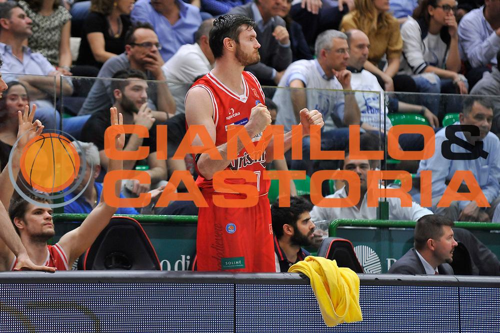 DESCRIZIONE : Beko Legabasket Serie A 2015- 2016 Playoff Quarti di Finale Gara3 Dinamo Banco di Sardegna Sassari - Grissin Bon Reggio Emilia<br /> GIOCATORE : Darjus Lavrinovic<br /> CATEGORIA : Ritratto Esultanza<br /> SQUADRA : Grissin Bon Reggio Emilia<br /> EVENTO : Beko Legabasket Serie A 2015-2016 Playoff<br /> GARA : Quarti di Finale Gara3 Dinamo Banco di Sardegna Sassari - Grissin Bon Reggio Emilia<br /> DATA : 11/05/2016<br /> SPORT : Pallacanestro <br /> AUTORE : Agenzia Ciamillo-Castoria/C.Atzori