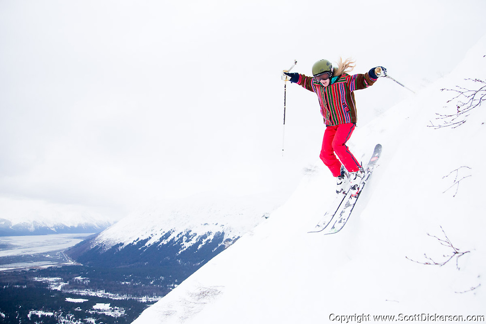 Cheryl Hickey. Female skiers enjoying a day of skiing at Alyeska Resort in Girdwood, Alaska as part of the  Get the Girls Out campaign organized by SheJumps.