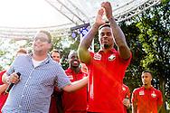 Willem II Open dag - Koningsdag 2015 - Supporters, spelerspresentatie, handtekeningen, actracties, kinderen, jonge supporters, springkussens<br /> <br /> Terell Ondaan van Willem II <br /> <br /> foto: Geert van Erven