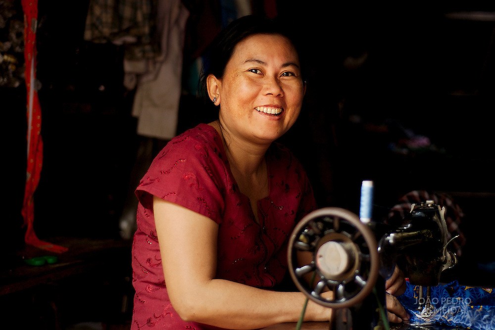 Seamstress at small shop in Mandalay
